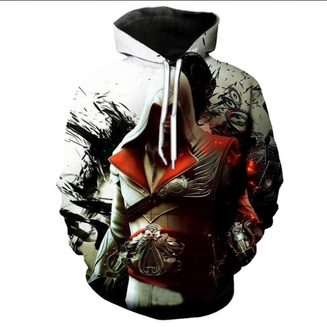 Venda por atacado - 2018 Novo Estilo Homens / Mulheres Harajuku Assassins Hoodies Hoodies Masculino Assassins Creed Unisex Clothesper CLM035