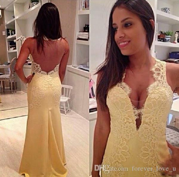 Stunning Mermaid Evening Dresses Sexy V Neck Sheer Back Lace Appliques Long Formal Prom Party Gowns Sweep Train High Quality