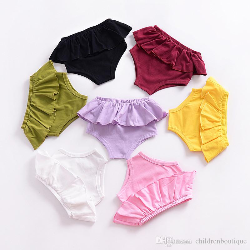 2018 Summer Baby Shorts Girls Ruffle Panties Bottoms Kids Candy Color Shorts Toddler Infant Girls Bottoms Diaper Cover Nappy Shorts Clothing