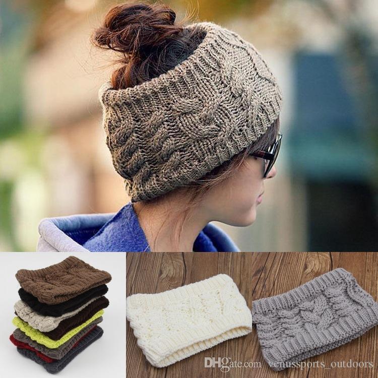 b2e3aab6 Wholesale Fashion Women Crochet Caps Headband Knit Hairband Winter Ear  Warmer Head Hat Empty Top Winter Hats Christmas Gifts