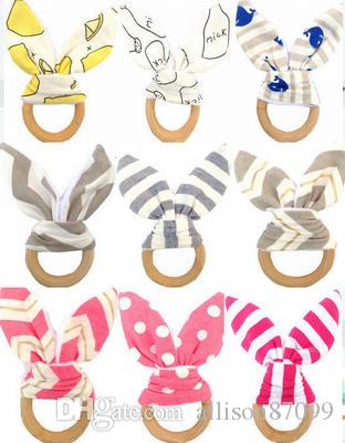 Infants wooden teether Bunny ears tooth ring Teethers Baby toys 24 colors Striped Dots Cute INS style 2018 Cheap wholesale