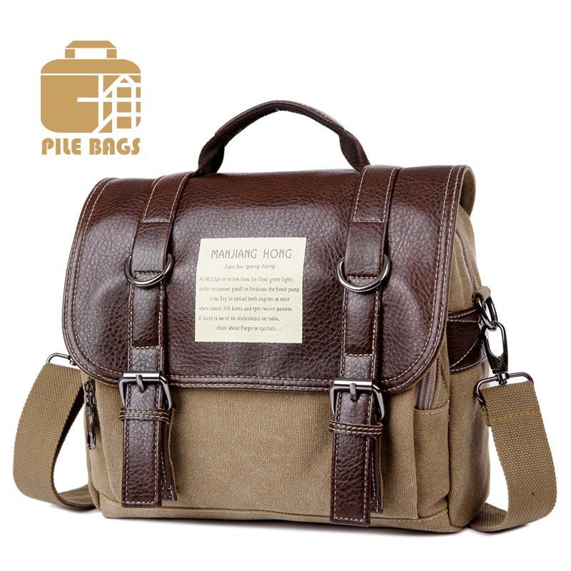 ce643eef3bb School Book Bags Men Leather Satchel Man Handbag Canvas Messenger Bags  Vintage Briefcase Men S Vintage Handbags Male Suitcase Cheap Designer  Handbags Black ...