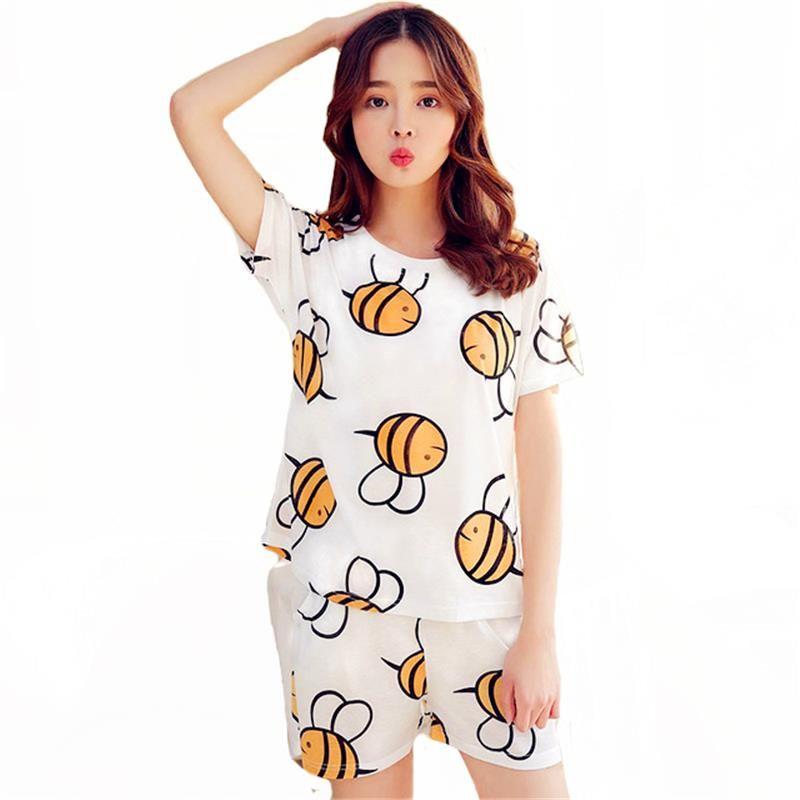 Summer Autumn Women Pajamas Sets Short Sleeve Cotton Thin Pajamas ... f71d07bb9