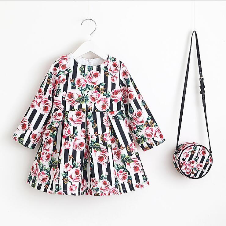 a5562b093d80e flowers dress 2018 autumn new American pastoral style cotton girl cute  flowers printing kids elegant dress 4 colors same print packet