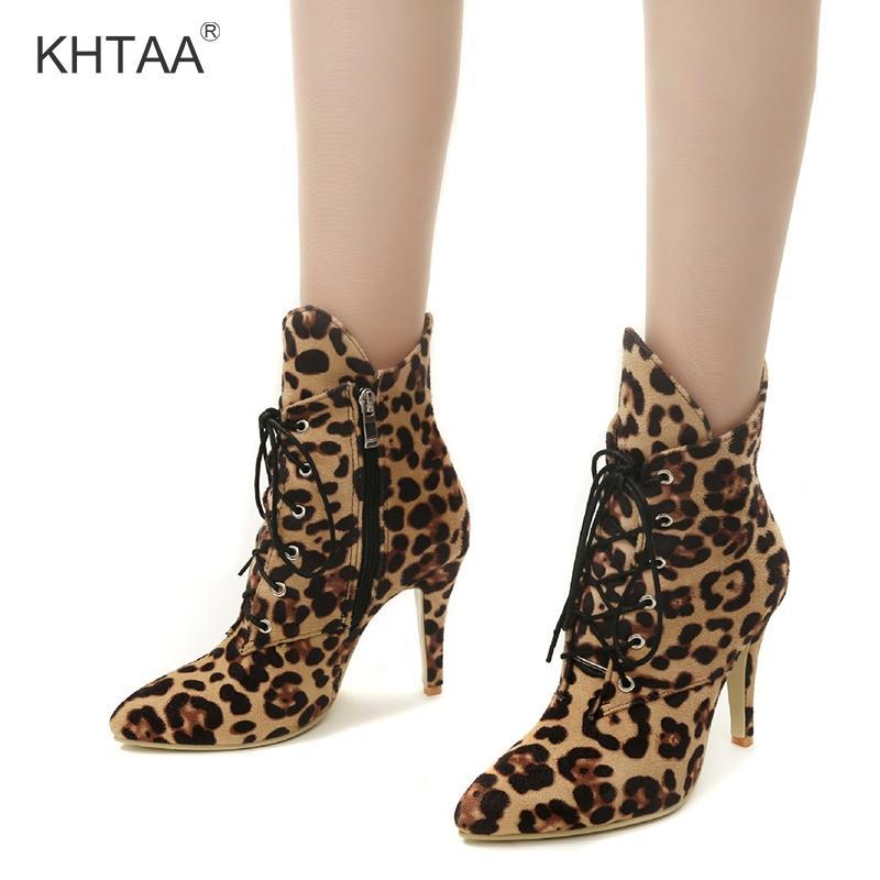 57581fd2dd62f Compre Estampado De Leopardo Media Becerro Botas De Mujer Con Cordones  Punta Estrecha Tacones Altos Damas Cortas Botas De Invierno 2018 Cremallera  Zapatos ...