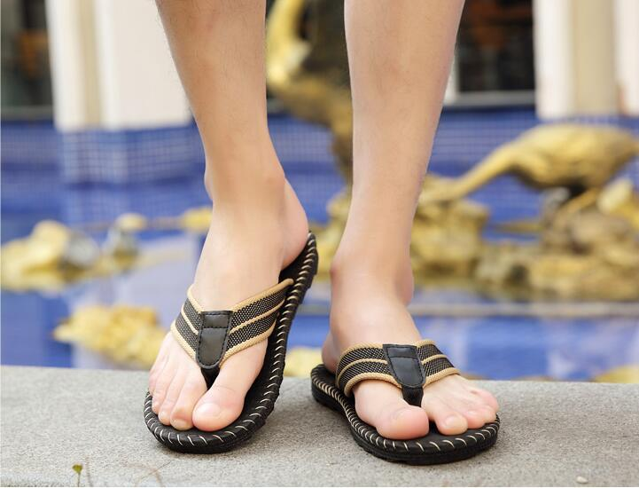 ab7c9f41379eaa 2018 Summer Flip Flops Beach Men Shoes Trend Students Slipping Feet Outdoor Leisure  Beach Sandals And Slippers Wide Calf Boots Shoes For Women From ...