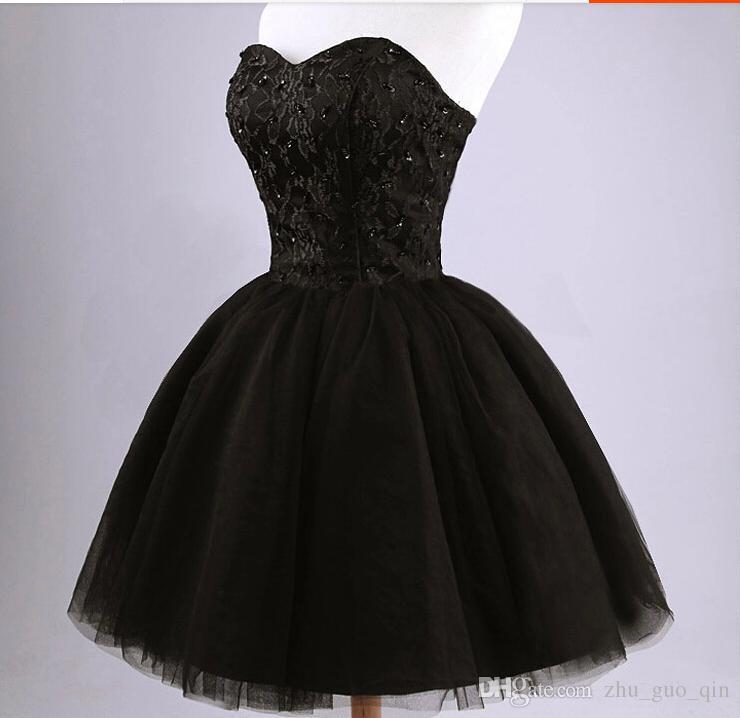 Mini vestidos de fiesta de tul negro corto Pretty Strapless rebordear de encaje espalda vestido de regreso corto Sweet 16 vestidos