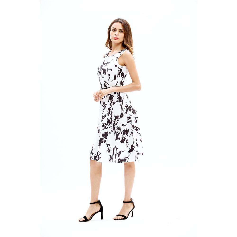 223ce9b7696 2019 Lady s Summer Dress 2018 Fashion Women Sleeveless Round Neck Floral  Pattern Printed Dresses White Casual Short Dress Vestidos From Darnelly