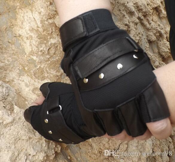 Mix Styles Fashion Black Real Leather Fingerless Gloves For Dancing Motorcycle Driving Sports GL01