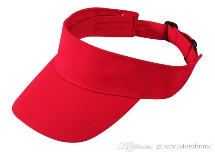 Wholesale Adult VISOR-Visor Cap Printing Letter/LOGO Adult Summer Visors Men Hat Custom Women Trucker Hats Top Air Empty cap
