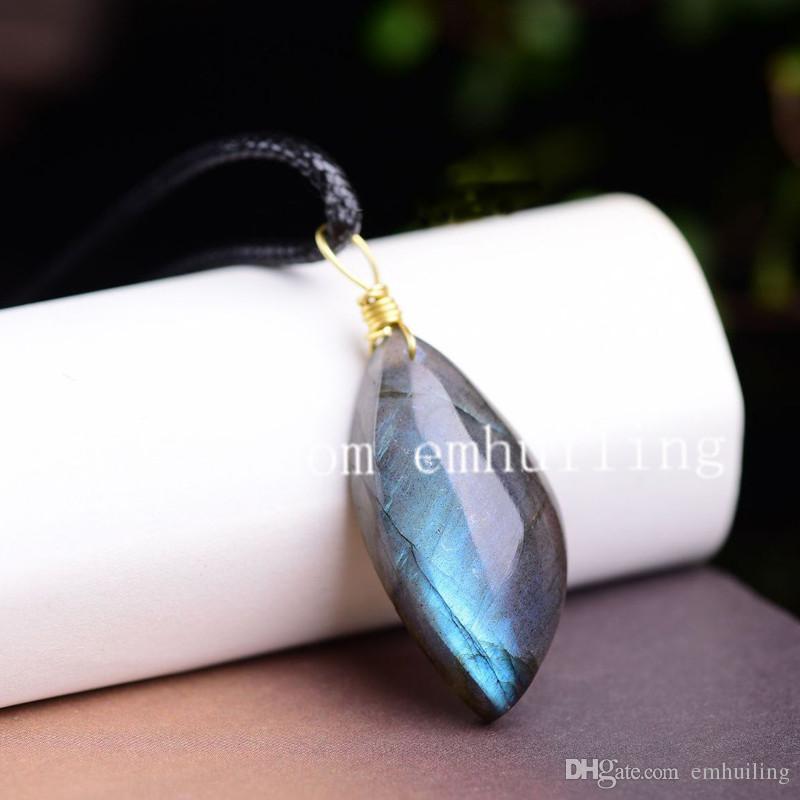 Pequenas Pedras Genuínas Labradorite Lágrima Em Forma de Gems Pingente de Pedras Preciosas Pedra Piscante Labradorite Ponto de Cristal Gota de Água Pingente de Colar Gargantilha