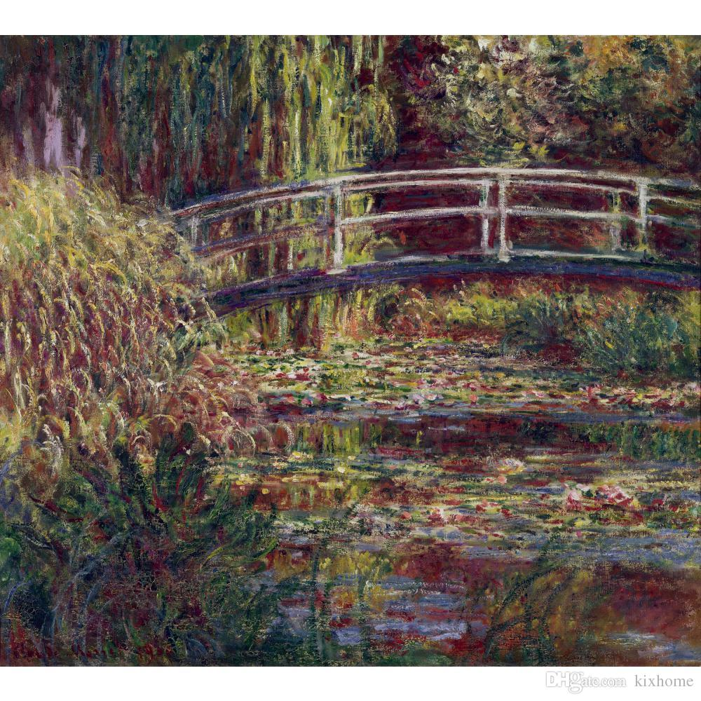 Claude Monet Oil painting reproduction The Japanese Bridge (The Water-Lily Pond Symphony in Rose) impressionist artwork for wall decor