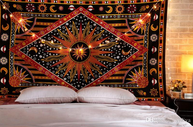 Colgante de pared indio Tapicería Bohemio Sol Luna Hippie Manta Boho Toalla de playa Sala de estar Decorativo Mandala Alfombra 148x200cm