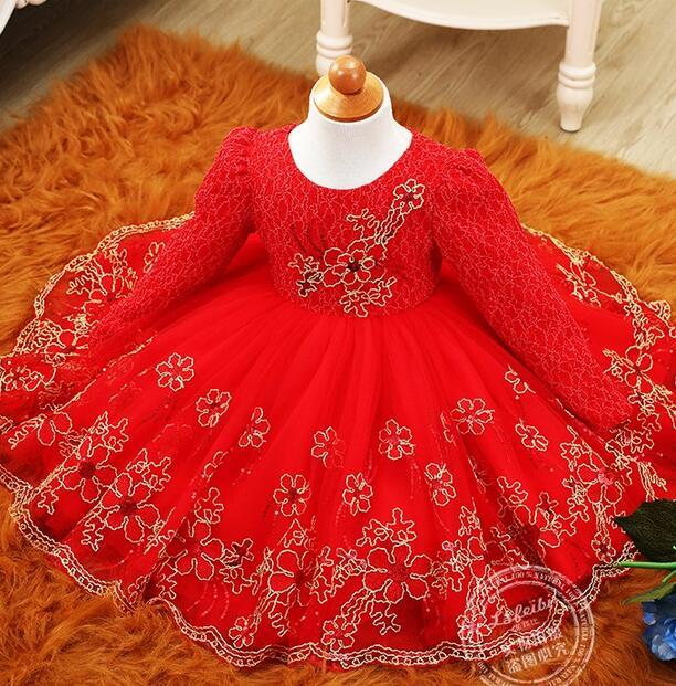 Retro style autumn and winter girl dress red purple flower girl dress wedding gold silk embroidery side child dance birthday dre