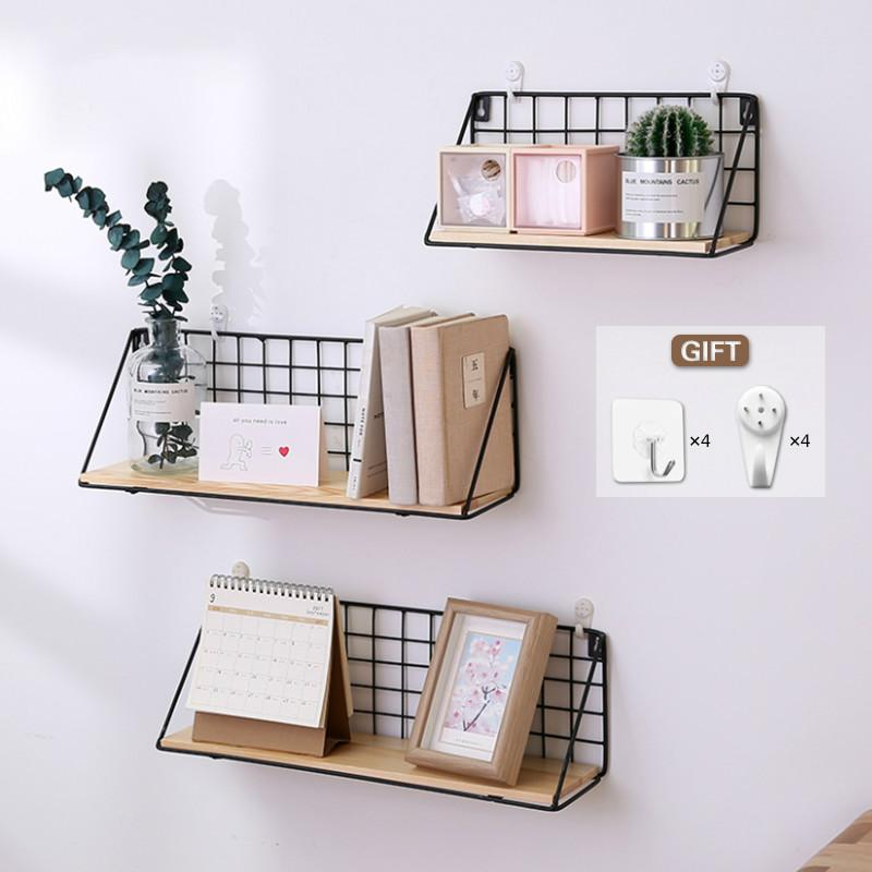 2019 Wooden Iron Wall Shelf Wall Mounted Storage Rack Organization