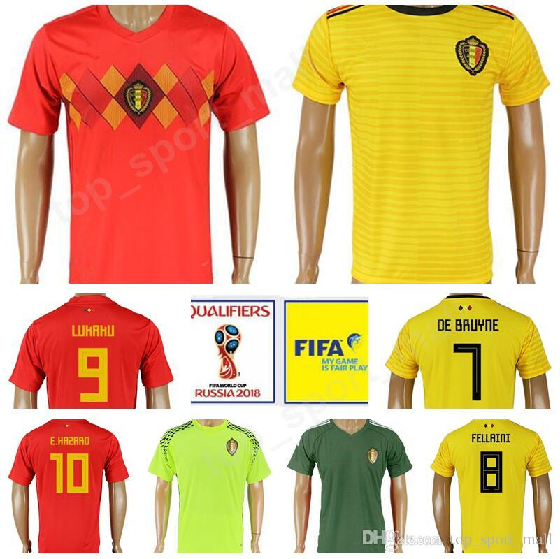 a0de0b346 Belgium Soccer Jersey 2018 World Cup 10 Eden Hazard Football Shirt ...
