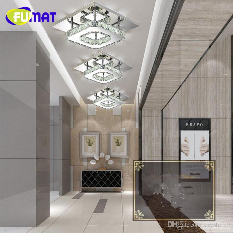 FUMAT Square Crystal Lustre LED Modern Plafoniera Luminarias Para Sala lampade a led corridoio casa corridoio balcone cucina infissi