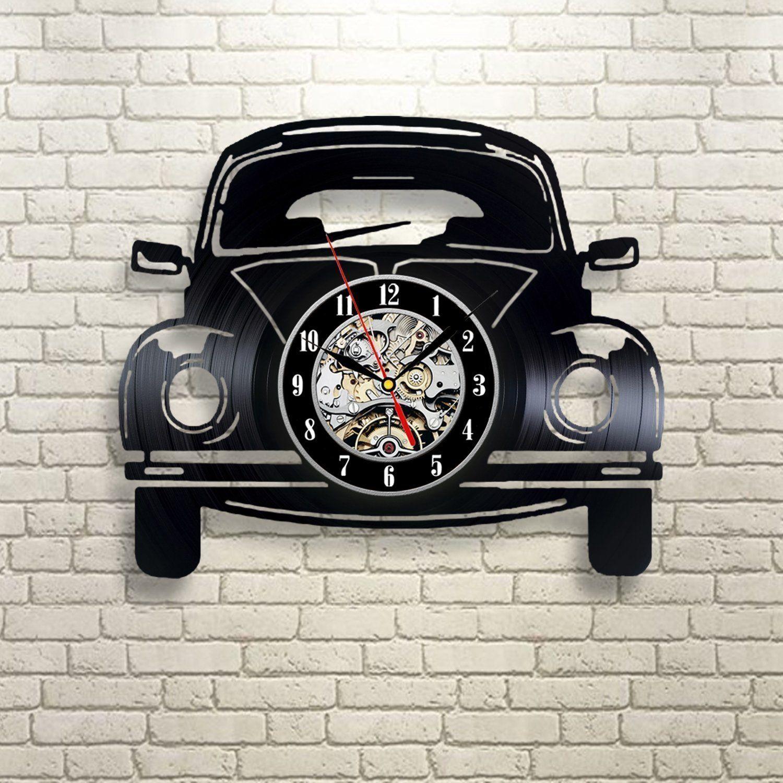 Diy Gift For Clock Change 2018 Car Retro Vinyl Record Wall Clock