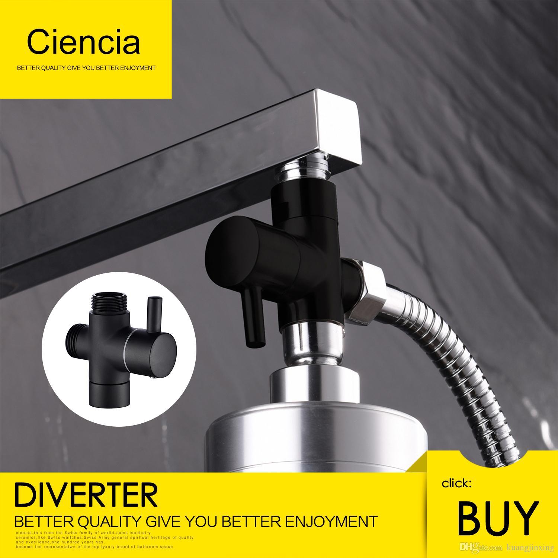 2018 Ciencia Brass Black 3 Way Diverter Valve For Handheld Shower ...