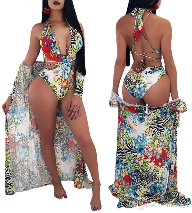 e6eb71f3ec9 2019 Lace Up Floral One Piece Swimwear With Cover Ups Sexy Printed Women  Swimsuit Beach Bathing Suit Blouse Bikini Two Pieces Beachwear From Mara 1