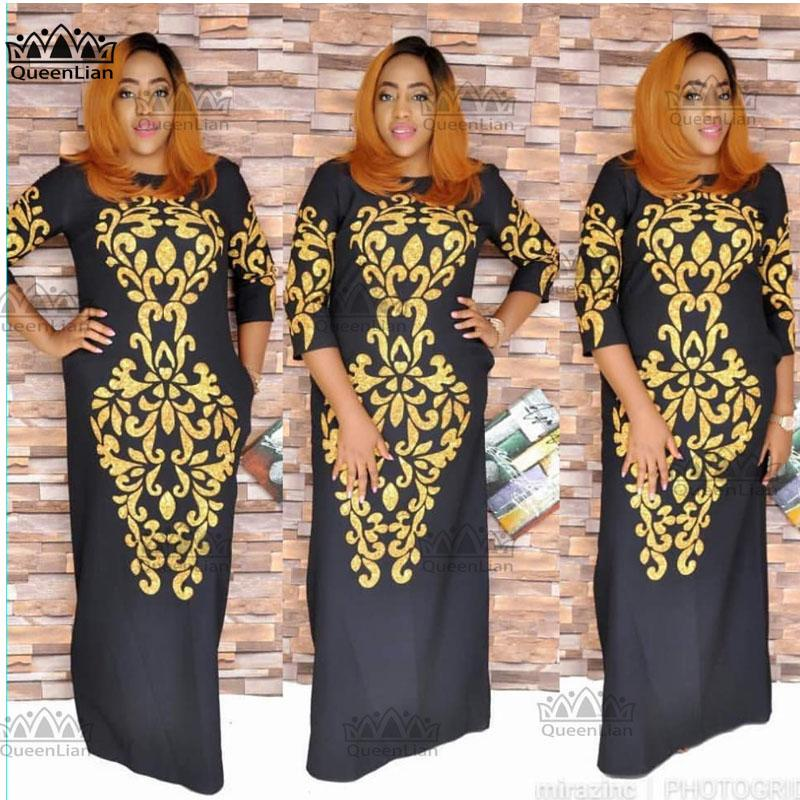 3a0f0ad6209 2019 2018 SizeL 3XL New African Dashiki Fashion Black Gold Pattern Super  Elastic Party Plus Size Loose Dress For Lady From Purlove
