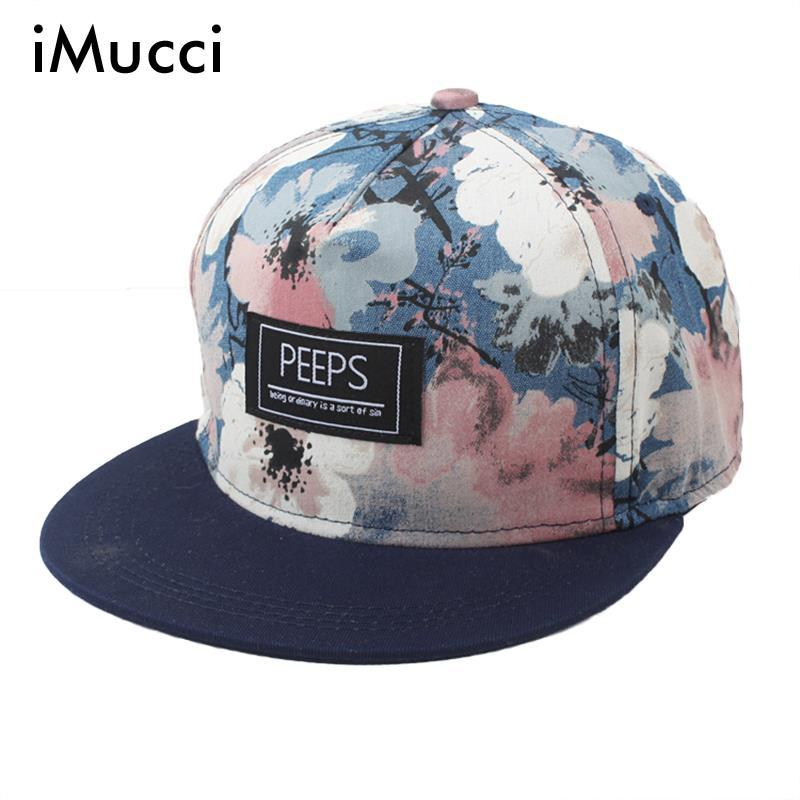 b07da483bce IMucci New Arrival Men Women Floral Print Snapback Adjustable Baseball Cap  Spring Unisex Flat Along Flowers Cool Hip Hop Hat Custom Fitted Hats Design  Your ...