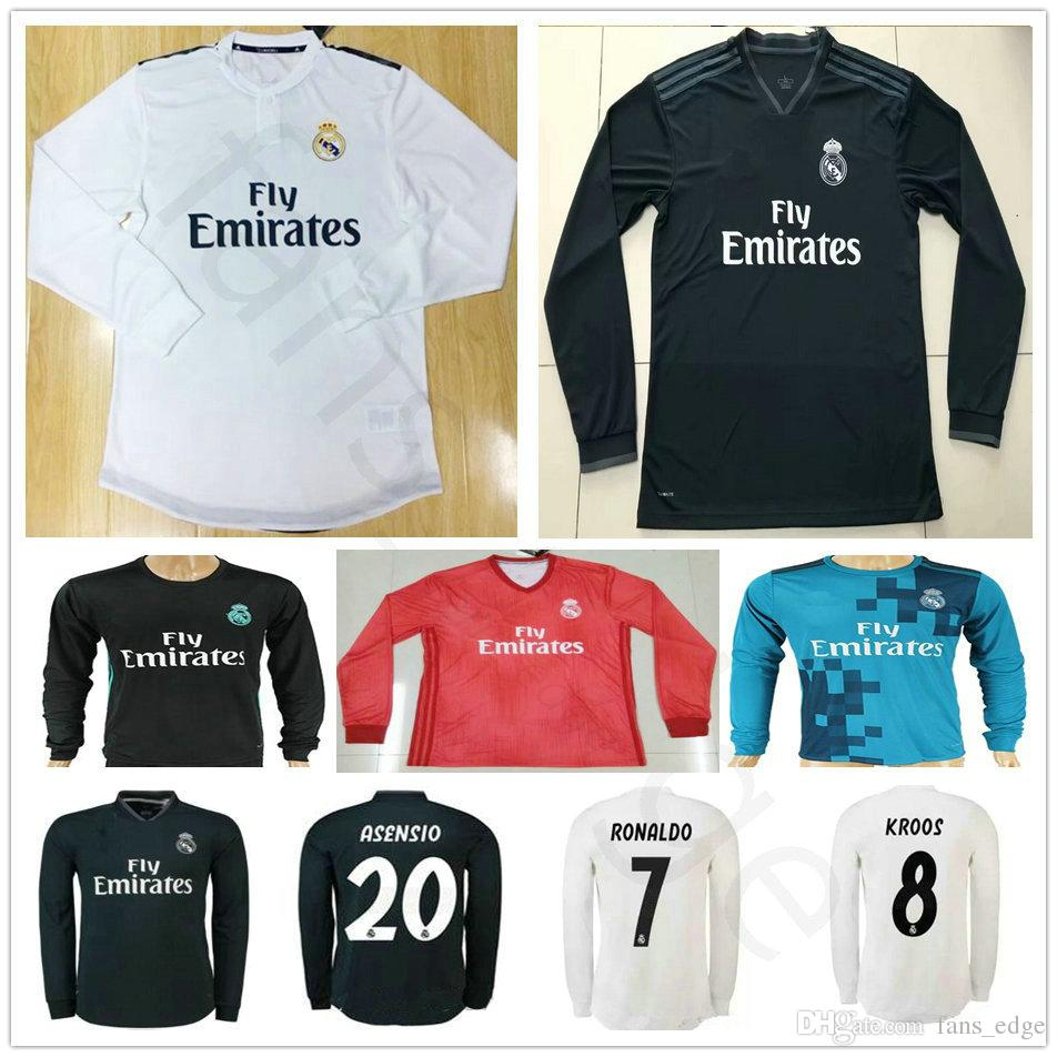 Custom 18 19 Real Madrid Long Sleeve Soccer Jerseys Sergio Ramos Ronaldo  Kroos Bale Marcelo Asensio Isco Modric 2018 2019 Football Shirt Real Madrid  Long ... 293af2f6e
