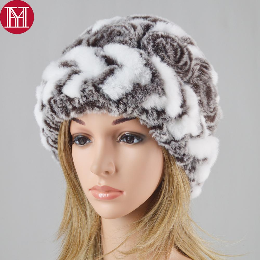 New Good Elastic Real Rex Rabbit Fur Hat Women Knitted Rex Rabbit Fur  Beanies Cap Russia Winter Striped Real Caps Skull Cap Beanie Boo From  Buafy f40920fee14