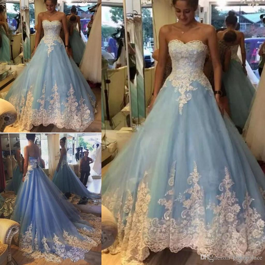 57641a6765 Hot Sale Light Sky Blue Quinceanera Dresses Sweetheart Lace Appliques  Custom Made Ball Gown Prom Dresses Dresses Purple And White Quinceanera  Dresses From ...