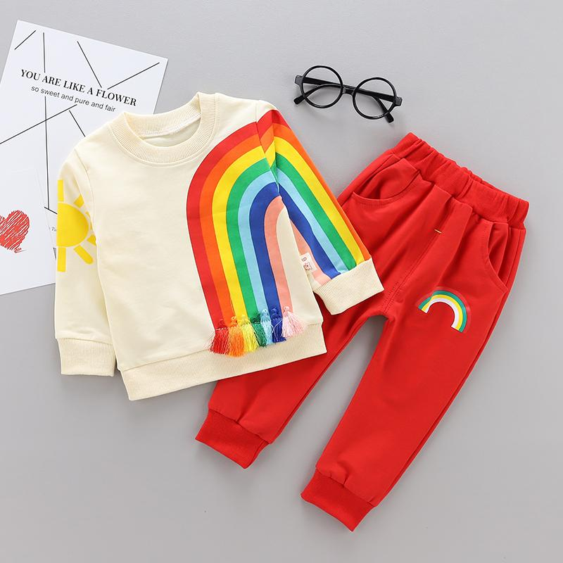 da7f071fc25 2019 Fashion Children Boys Girls Cotton Clothing Sets Baby Cartoon Rainbow  T Shirt Pants  Sets Spring Autumn Toddlers Tracksuits From  Shanghaiyuhong005