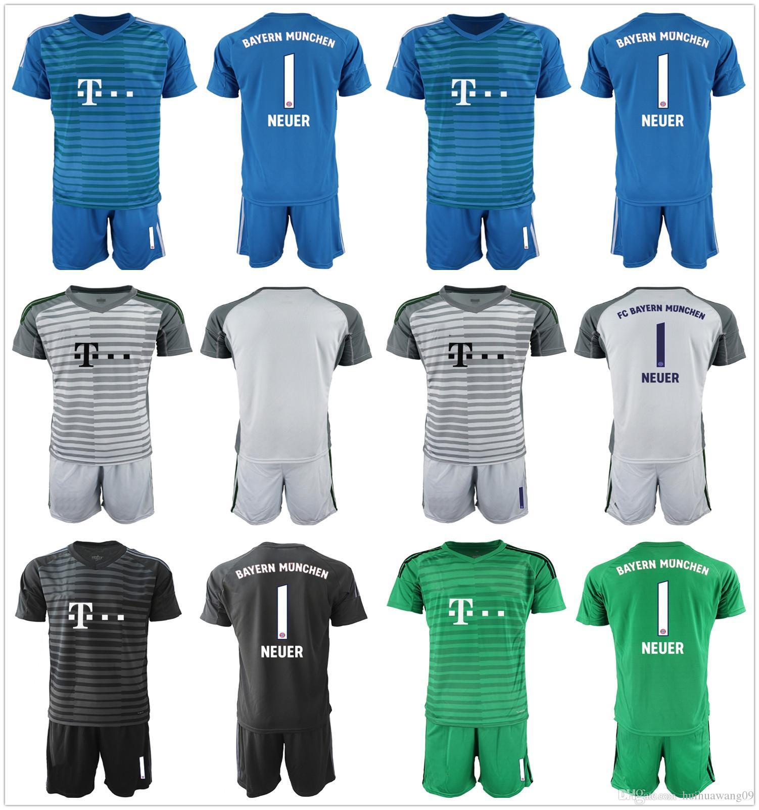 29646f9994a 2019 2018 2019 Adults Neuer Goalkeeer Soccer Sets Manuel Neuer Jerseys  Lewandowski Robben Grey Green Black Kit Football Goalie Soccer Uniform From  ...