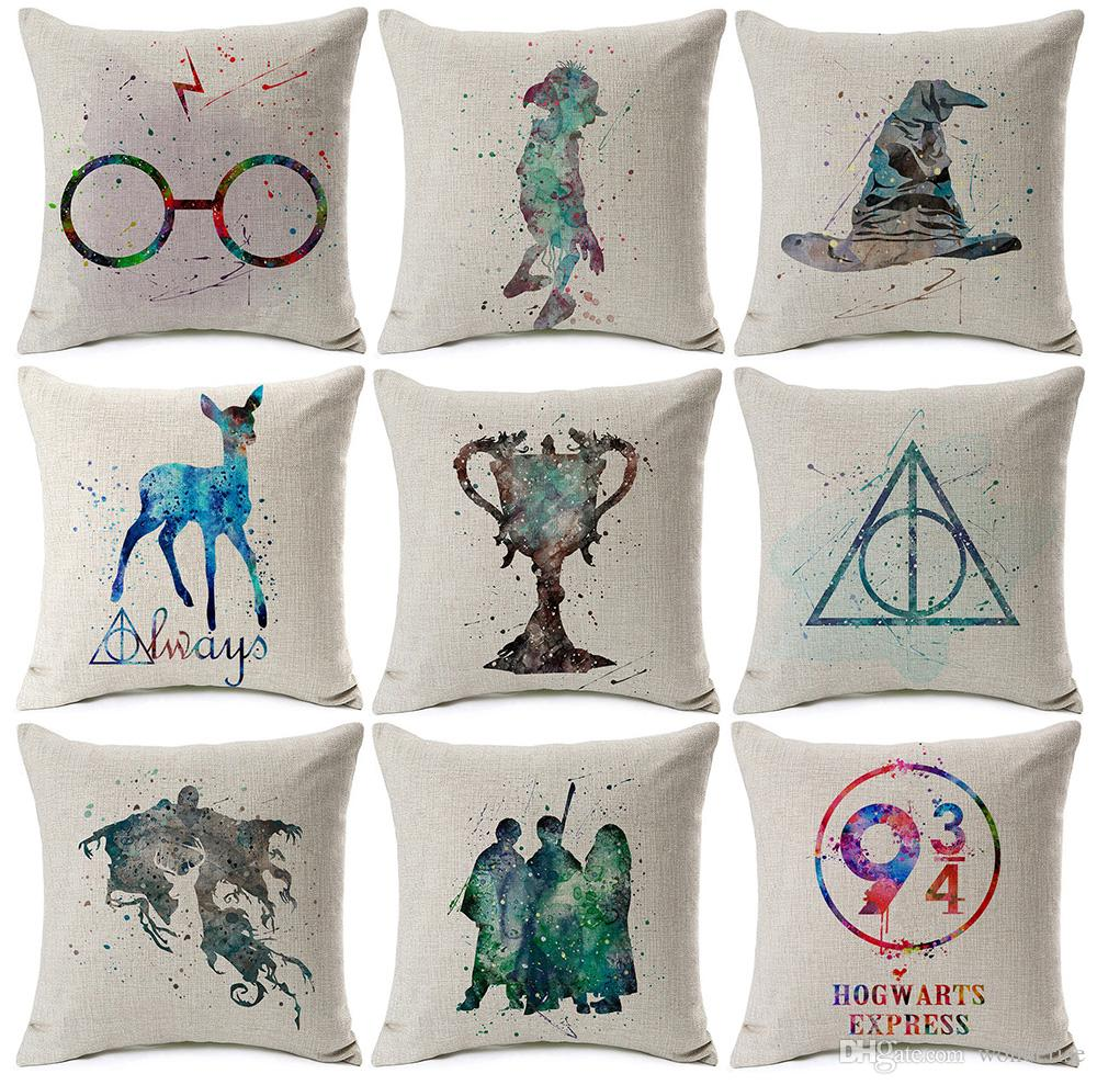 Harry Potter Cushion Cover Watercolor Painting Sorting Hat The Goblet Of  Fire Art Cushion Covers Sofa Beige Linen Pillow Case Lounge Chair Pads  Outdoor ...