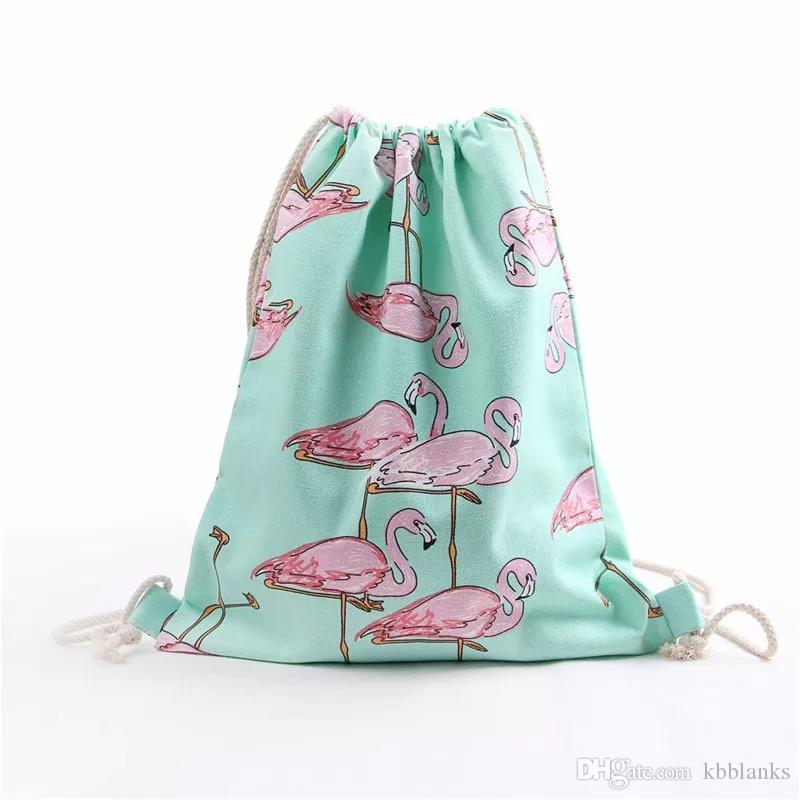 3e16461d4f41 Wholesale Flamingo Drawstring Bags Mint Summer Backpack Canvas Material  Blank Bag School Bag For Kids Back Pack Mochilas Jansport From Kbblanks