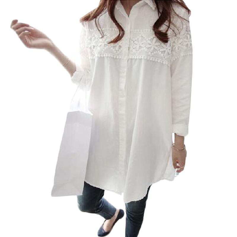c87cc5eb93c2f 2019 2017 New Autumn White Lace Blouse Plus Size 4XL Women Tops Casual  Loose Blouses Long Sleeve Vintage Ladies Shirts Blusas AB318 From Sheju