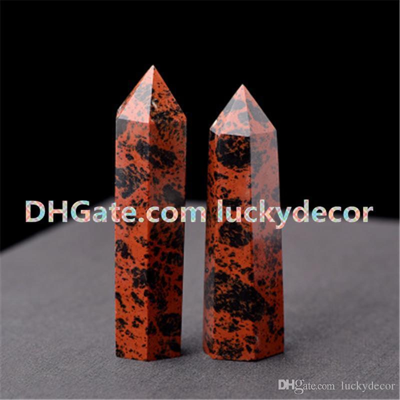 Rare Mahogany Obsidian Polished Stone Terminated Stick Wand Sacral Chakras Natural Volcanic Rock Red & Black Gem Mineral Specimen Displays