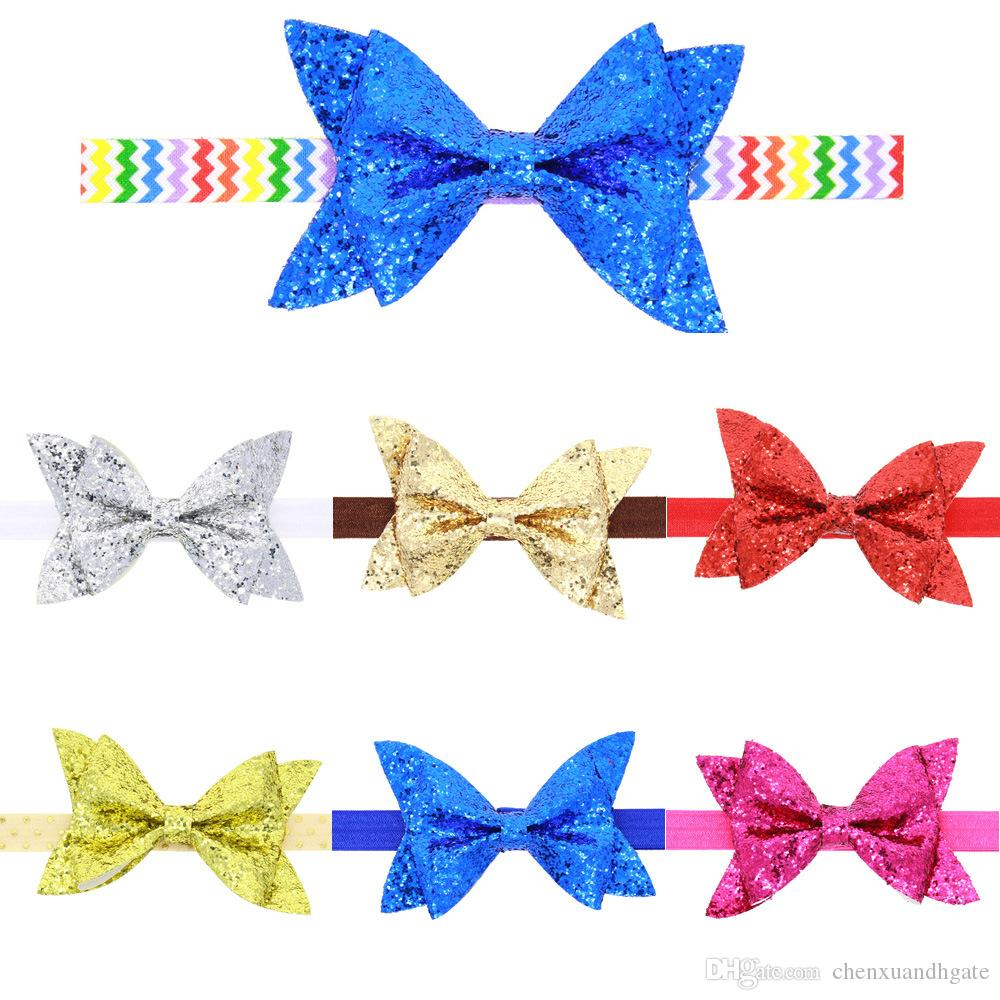639323181028 Quenya Sparkling Hair Accessories Bow Baby Girl Headbands Elastic ...
