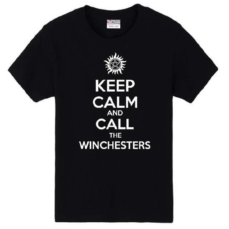 Anti-Possession Tattoo KEEP CALM WATCH WINCHESTERS Supernatural couple clothes man cotton T-shirt