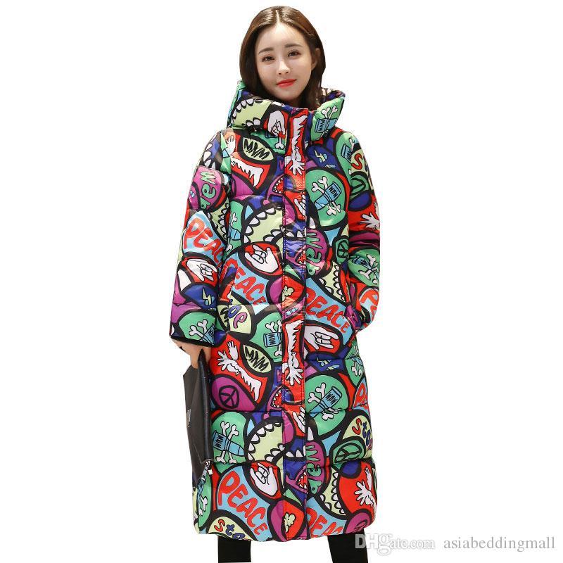 the best attitude 9710a 041af Mit Kapuze Bunte Winter Daunenmantel Jacke Lange Warme Frauen Casaco  Feminino Abigos Mujer Invierno 2018 Parkas Outwear Mäntel