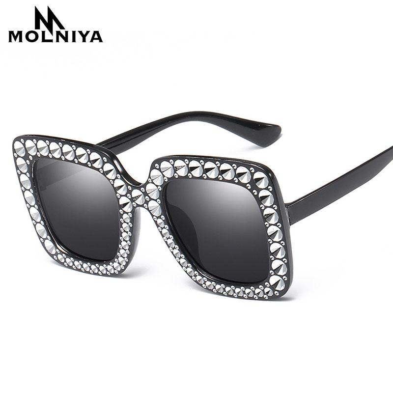 d62d36480ab Cheap Diamond Big Square Sunglasses 2018 New Luxury Brand Designer Ladies  Women Frame Mirror Sun Glasses For Female Best Sunglasses For Men Vuarnet  ...