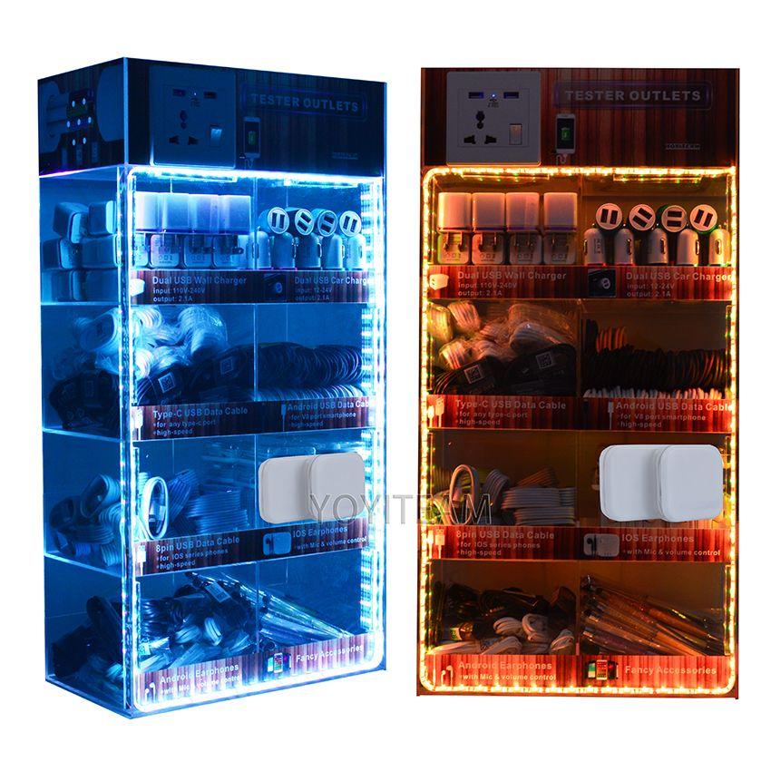 Taşınabilir aksesuarları akrilik ekran kutusu LED ışıkları 8 in 1 cep telefonu usb şarj kablosu ile android akıllı telefonlar için kullanın