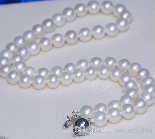 Wholesale 7-8mm south sea white natural pearl necklace 18inch 925 silver clasp WS925