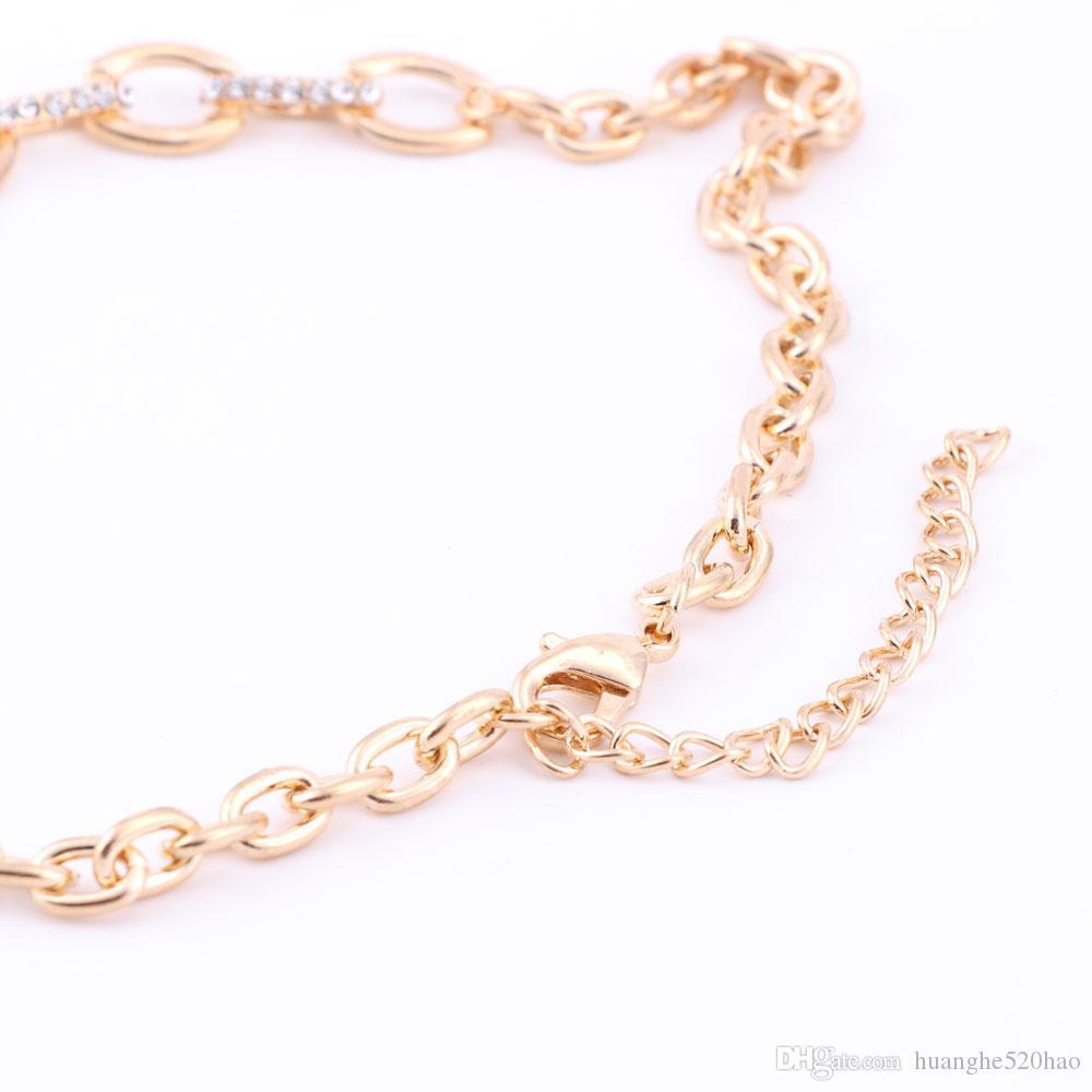 Set Di Gioielli Le Donne Damigella D'Onore Di Cristallo Pieno Beads Africani Jewelry Set Color Oro Palla Etiope Gioielli Da Sposa