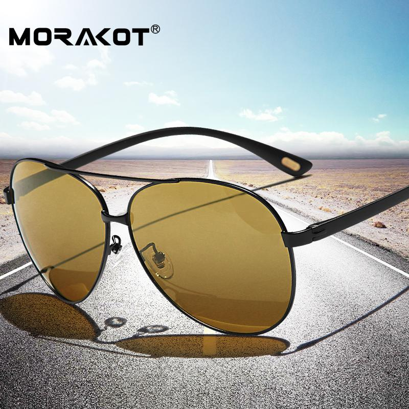 8238474ad3 Compre MORAKOT Para Hombre Gafas De Sol Fotocromáticas Polarizadas Para El  Día Y La Noche Para Hombres Diseñador De La Marca Lente Amarilla Visión  Nocturna ...