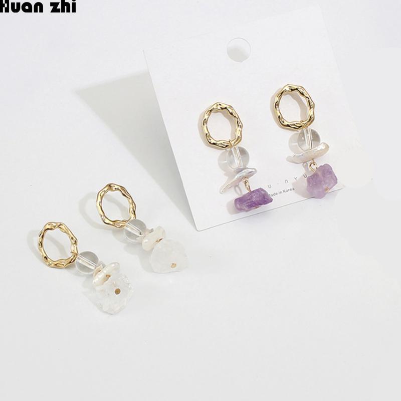 702e6daf6c940 HUANZHI Natural Purple Crystal Irregular Transparent Stone Metal Gold  Circle Freshwater Pearl Beads Long Drop Earrings for Women