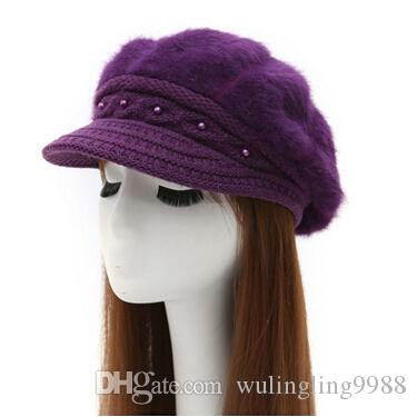 19ba81f330897 cashmere knitted hat Korean type winter women's Beret peaked cap lady  rabbit hair hat 7 Colors