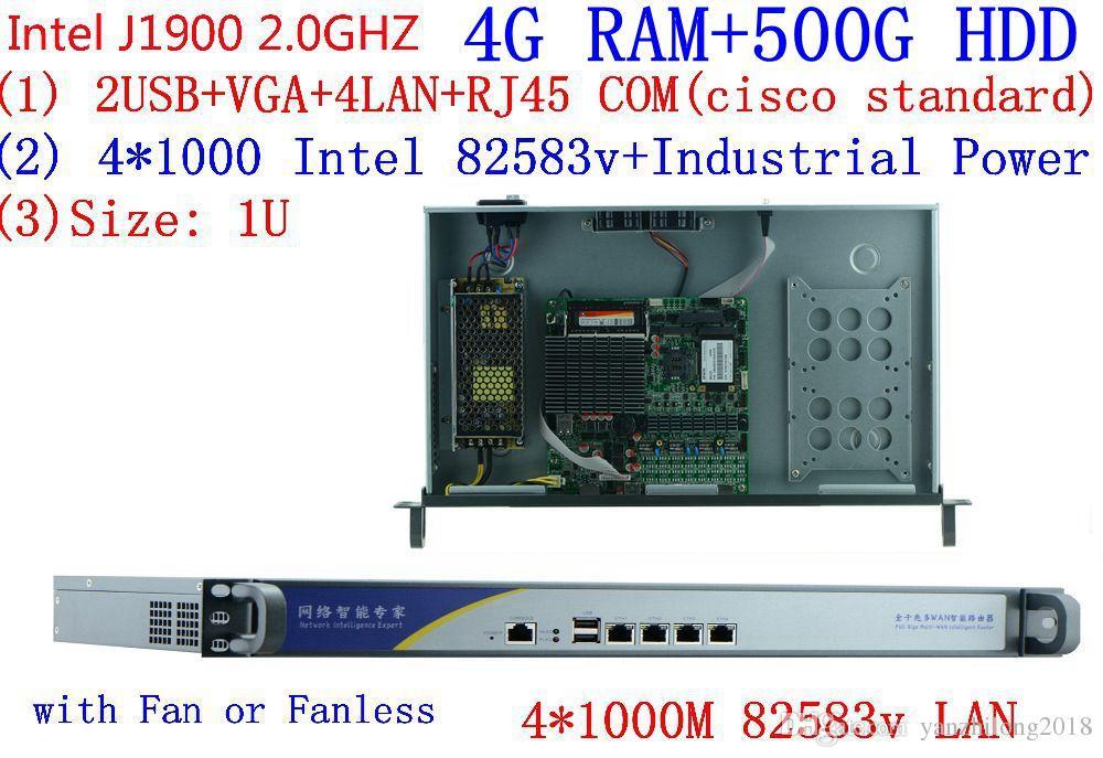 1U j1900 firewall router pfsense PC x86 server pc with celeron J1900 2 0GHZ  quad core four thread thin client/linux 4G RAM 500G HDD