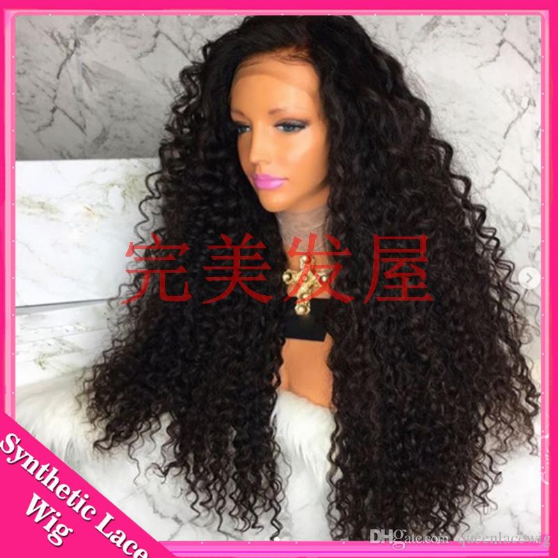Black Hair Color Free Part Long Kinky Curly Synthetic Glueless Front