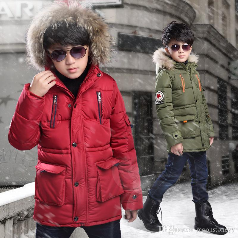 7c7c7aa3e Boys Down Jackets Winter Jacket For Boys Warm Hooded Outerwear Coat ...