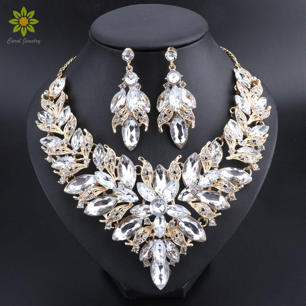 Jewelry & Watches Wedding Indian Fashion Jewelry Bridal Necklace Set Earring Gold Silver Plated Jewelry Sets
