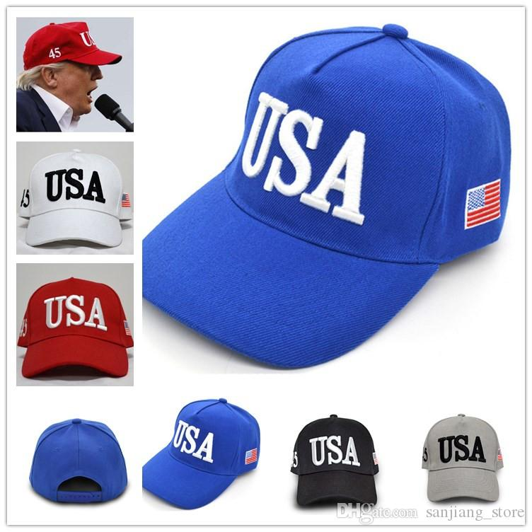 246ce524fd9 3D Embroidery US Flag 2020 Make America Great Again Hat Donald Trump ...
